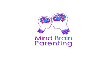 Mind Brain Parenting logo. Child and adult heads in lightbulbs touch.