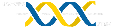 UCI - GPS logo. Blue and yellow DNA strand. White text in between
