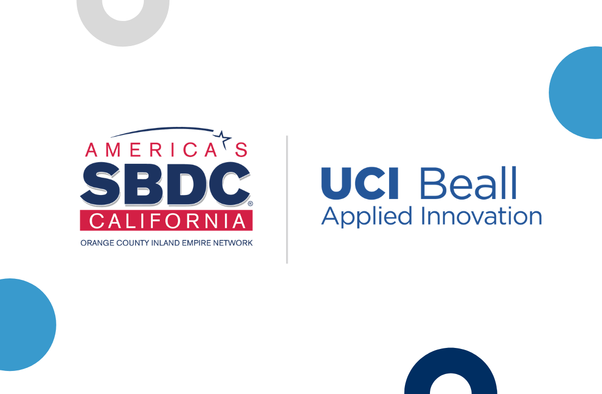 """Graphic image. Right """"America's SBDC California logo"""". Right """"UCI Beall Applied Innovation"""" logo."""