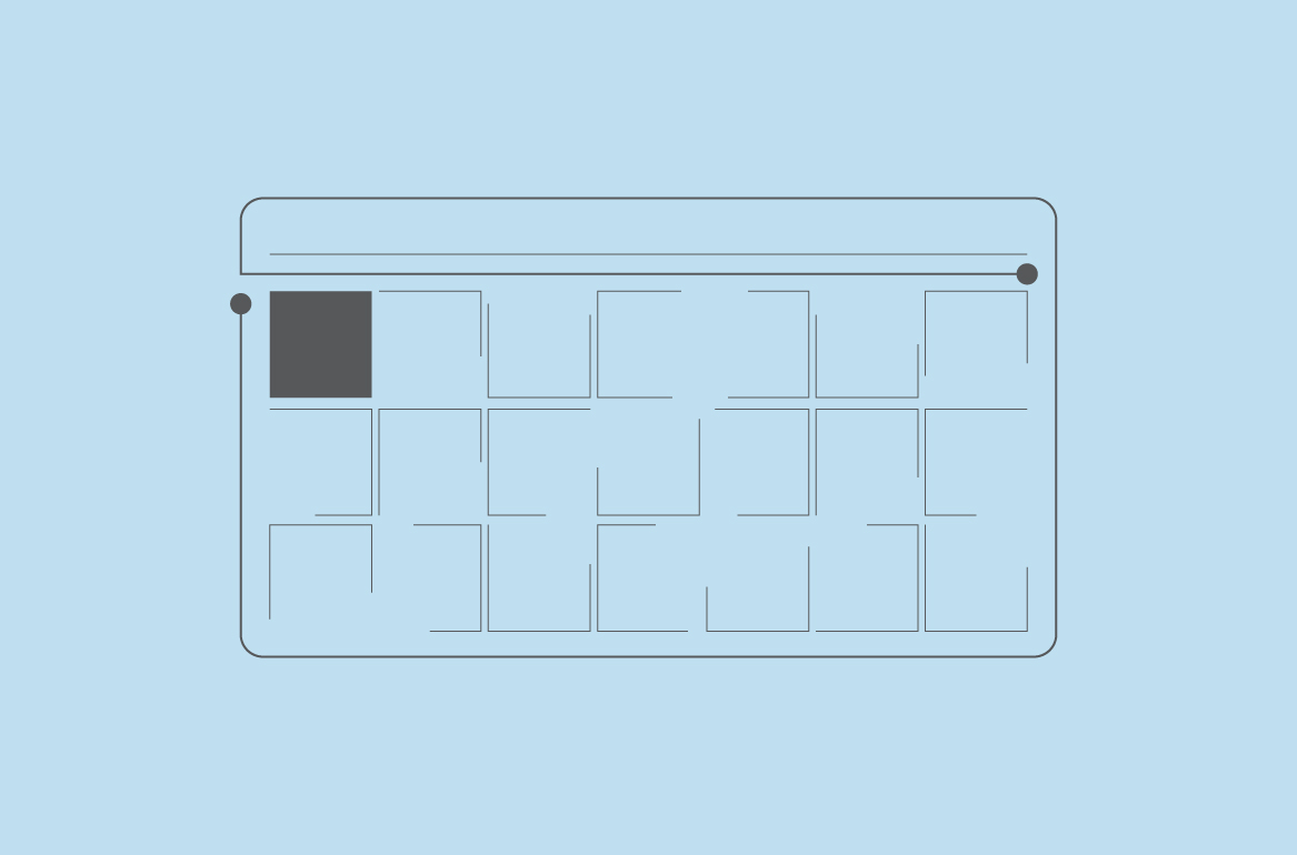 Graphic image of a outlined calendar. Black outline with a blue background.