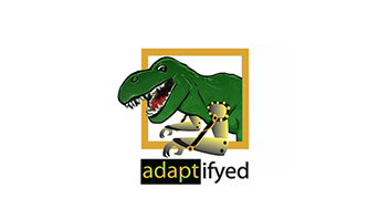 Adaptifyed logo. Dinosaur with robotic arms.