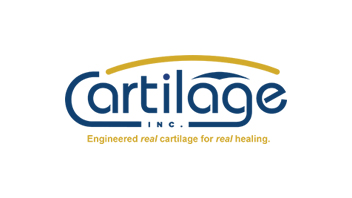 Cartilage Inc. logo. Blue with Yellow arc.