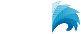 UCI Innovator Awards logo. Waves surge from a vertical line.