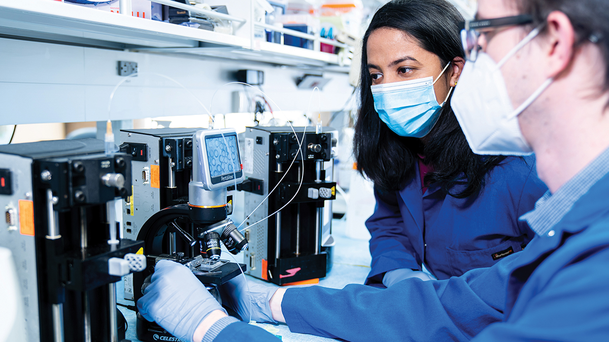 Man and woman in a lab setting