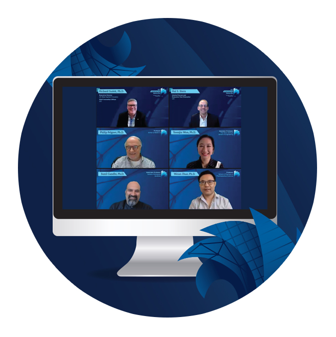 Richard Sudek, Hal Stern, Yoonjin Won, Sunil Gandhi, Weian Zhao and Phil Felgner appear on a computer screen