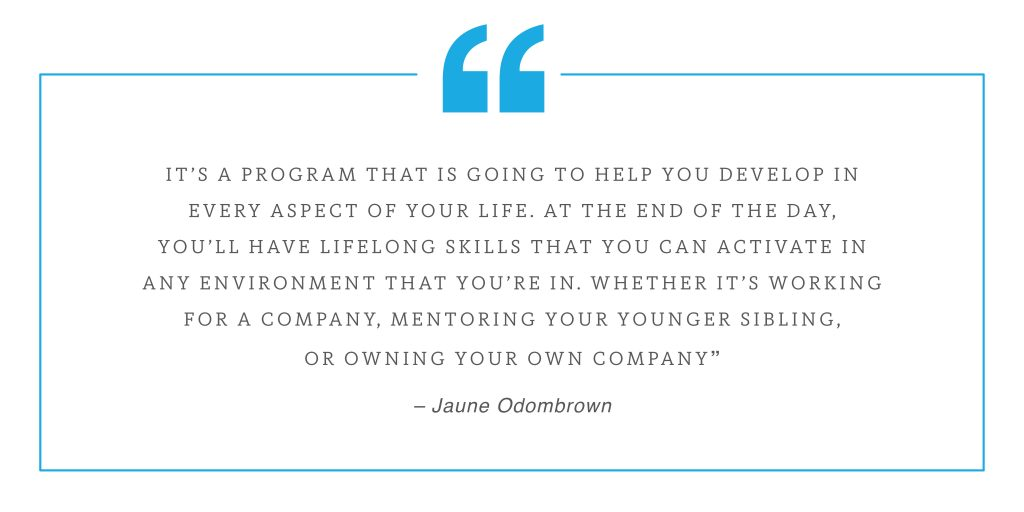 Pull quote about life long skills featuring Jaune Odombrown with blue quotation mark