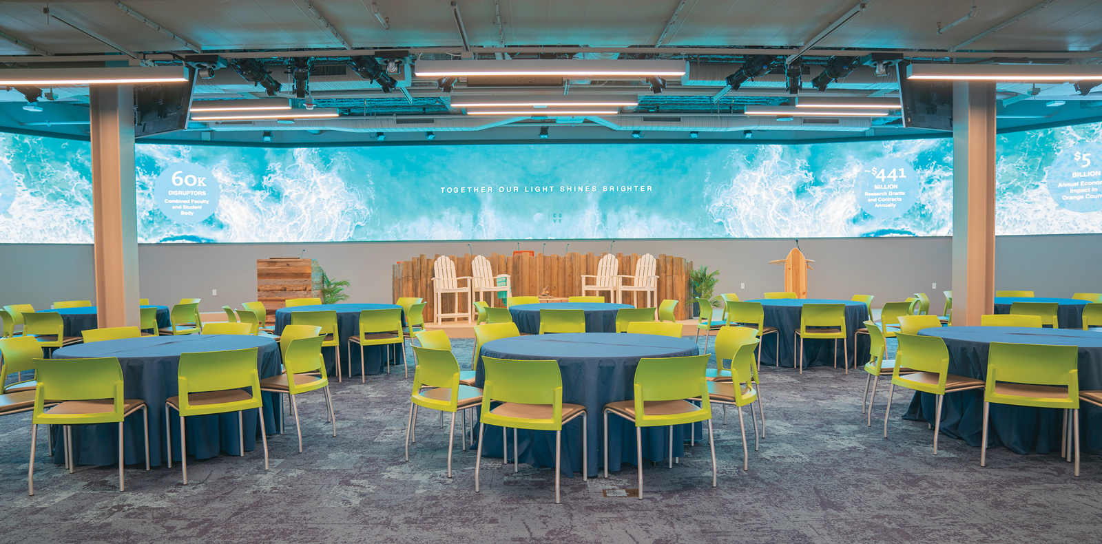 Photograph of The Beach @ The Cove set up for a presentation. Round tables with blue table covers surrounded by green chairs. Behind we see stage set up with beach chairs and wide digital screen displaying ocean water.