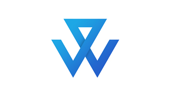 Wing logo. Blue line forms W and human shape.