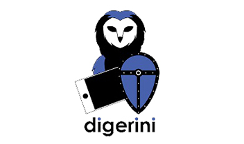 Digerini Wayfinder owl with a shield and iphone logo