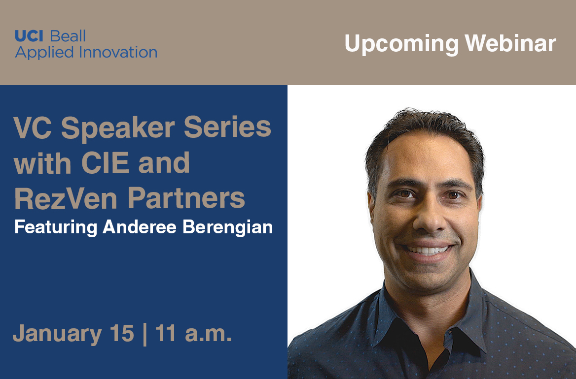 Text announcing upcoming VC Speaker Series on January 15th featuring Anderee Berengian alongside a headshot of Anderee Berengian in a collared shirt